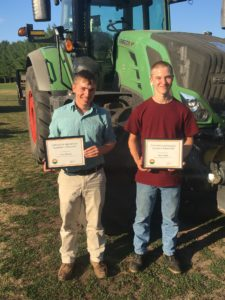 CTAEF Scholarship winner Corey Thomas, of Ivoryton, Conn., and Conor Smith, of North Granby, Conn., at the Connecticut Farm Bureau Young Farmer Picnic on August 6.